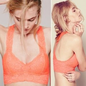 Free People Coral Lace Racer Back Bra Size XS